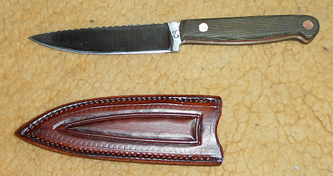Custom Kitchen Knives With Leather Knife Sheaths